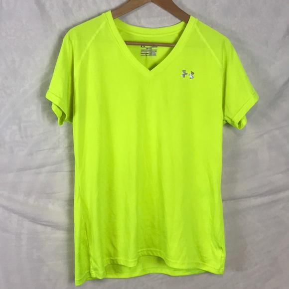 Under Armour Tops Womens Heat Gear Neon Green Shirt L Poshmark